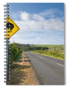 Attention Kiwi Crossing Roadsign At Nz Rural Road Spiral Notebook