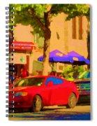 Aupres De Ma Blonde Resto Bar Terrasse Rue St Denis Montreal Cafe Street Scene Art Carole Spandau Spiral Notebook