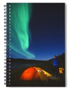 Aurora Borealis Above A Tent And Camper Spiral Notebook
