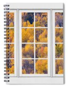 Autumn Aspen Trees White Picture Window View Spiral Notebook