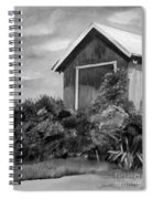 Autumn Barn - Upclose Cropped - Black And White Spiral Notebook