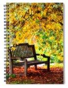 Autumn Bench In The Garden  Spiral Notebook