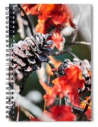 Autumn Leaves And Pinecone Background Spiral Notebook