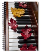 Autumn Leaves On Piano Spiral Notebook