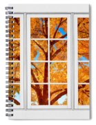 Autumn Maple Tree View Through A White Picture Window Frame Spiral Notebook