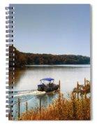 Autumn Pontoon Boating Argyle Lake Spiral Notebook
