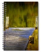 Autumn Reflections And Boat Dock On A Pond Near Yankee Springs Michigan Spiral Notebook