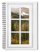 Autumn Rocky Mountain Glacier View Through A White Window Frame  Spiral Notebook