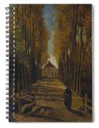 Avenue Of Poplars In Autumn Spiral Notebook