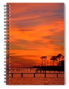 Awesome Fiery Sunset On Sound With Cirrus Clouds And Pines Spiral Notebook