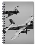B-25 And Escort Bw Spiral Notebook