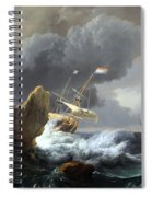 Backhuysen's Ships In Distress Off A Rocky Coast Spiral Notebook