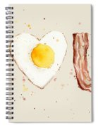 Bacon And Egg I Heart You Watercolor Spiral Notebook