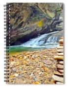 Balanced River Rocks At Birdrock Waterfalls Filtered Spiral Notebook
