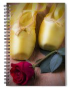 Ballet Shoes With Red Rose Spiral Notebook