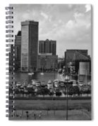 Baltimore Harbor Skyline Panorama Bw Spiral Notebook