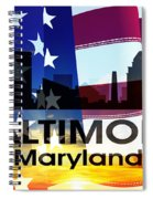 Baltimore Md Patriotic Large Cityscape Spiral Notebook