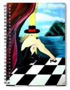 Bar Scene Lady With Hat By The Water Spiral Notebook