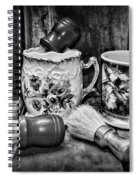 Barber - Shaving Mugs And Brushes In Black And White Spiral Notebook
