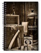 Barber - Vintage Barber Tools - Black And White Spiral Notebook