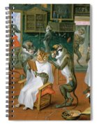 Barbers Shop With Monkeys And Cats Oil On Copper Spiral Notebook