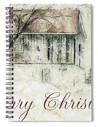 Barn In Snow Christmas Card Spiral Notebook
