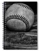 Baseball Broken In Black And White Spiral Notebook