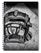 Baseball Catchers Mask Vintage In Black And White Spiral Notebook