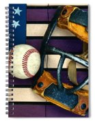 Baseball Catchers Mask Vintage On American Flag Spiral Notebook