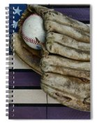 Baseball Mitt On American Flag Folk Art Spiral Notebook