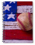 Baseball On American Flag Spiral Notebook