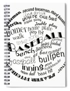 Baseball Terms Typography Black And White Spiral Notebook