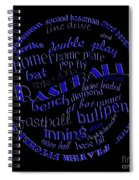 Baseball Terms Typography Blue On Black Spiral Notebook