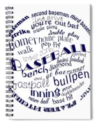 Baseball Terms Typography Blue On White Spiral Notebook