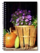 Basket Of Asters With Pumpkin And Gourd Spiral Notebook