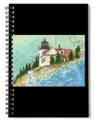Bass Harbor Lighthouse Me Nautical Chart Map Art Cathy Peek Spiral Notebook