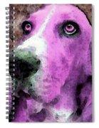 Basset Hound - Pop Art Pink Spiral Notebook