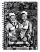 Bathing Beauties Black And White Spiral Notebook