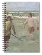 Bathing Boys With Crab Fisherman Spiral Notebook