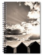 Beach Huts In Black And White Spiral Notebook
