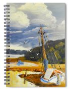 Beached Boat And Fishing Boat At Gippsland Lake Spiral Notebook