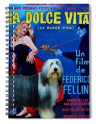 Bearded Collie Art Canvas Print - La Dolce Vita Movie Poster Spiral Notebook