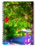 Beautiful Colored Glass Ball Hanging On Tree 1 Spiral Notebook