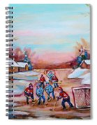 Beautiful Day For Pond Hockey Winter Landscape Painting  Spiral Notebook