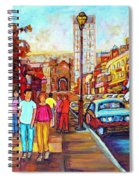 Beautiful  Downtown City Stroll  Cafe Paintings Montreal Restaurants On Crescent Street C Spandau Spiral Notebook