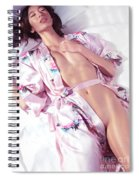 Beautiful Half Nude Asian Woman Lying In Bed Wearing Pink Yukata Spiral Notebook
