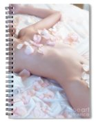 Beautiful Nude Woman Lying In Bed With Pink Rose Petals On Her B Spiral Notebook