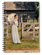 Beautiful Woman In White Dress With Parasol Spiral Notebook
