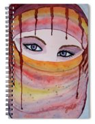 Beautiful Woman With Niqab Watercolor Painting Spiral Notebook