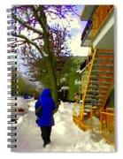 Beautiful Yellow Staircase Verdun Snow Scene Montreal Art Colors Of Quebec Carole Spandau Spiral Notebook